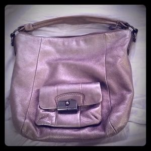 Silver coach shoulder bag